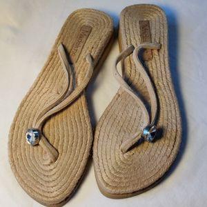 Madeline Rope Weave Beige Sandal Leather Straps